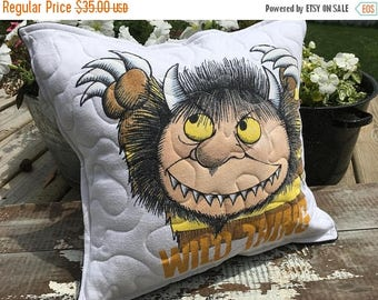 SALE- Wild Thing Throw Pillow--Upcycled Eco Friendly-Quilted