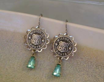 Get Your Kicks - Historic Route 66 Buttons Bezels Turquoise Glass Beads Niobium Wires Recycled Repurposed Upcycled Jewelry Earrings