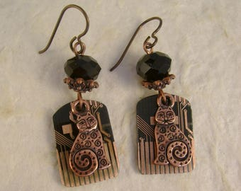 Techno Kitty - Vintage 1995 Black and Copper Apple Computer Circuit Board Niobium Wires Kitty Cat Geekery Recycled Repurposed Earrings