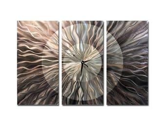 Charcoal Grey & Silver Abstract Metal Wall Clock, Modern Metal Wall Art, Contemporary Hanging Battery Clock - Obsidian Burst by Jon Allen