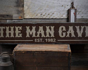 The Man Cave Sign, Est Date Sign, Man Cave Decor, Father's Day Gift, Custom Man Gift, Man Cave Gift, HandMade Vintage Wood Sign ENS1001932