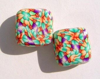 Mosaic Splatter Square Handmade Artisan Polymer Clay Bead Pair
