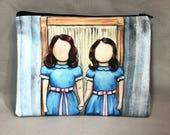 Redrum - Zipper Pouch - Twin Girls From The Shining - Art by Marcia Furman