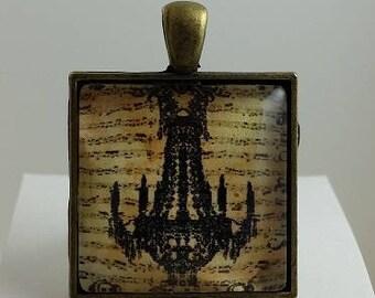Vintage Chandelier Glass Cabochon Pendant