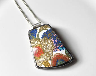 Broken China Jewelry Pendant - Blue Gold and Red Modern Floral