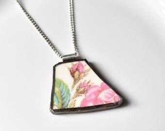 Broken China Jewelry Pendant - Pink Rose