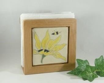 Napkin Holder with Sunflower Art, Wooden Napkin Holder, Flower Tile, Kitchen Decor, Office Desk Accessory, Letter Holder