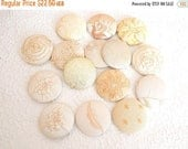 CLEARANCE - 15 ivory fabric covered buttons, size 75
