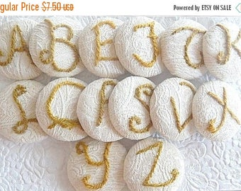 CLEARANCE - Embroidered button, monogram button,  letter button, price per button