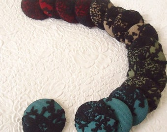 CLEARANCE - Green blue red lace fabric cover buttons,  1 7/8 inches, 1.9 inches, 4.7 cm, 48.26 mm, size 75 buttons, make necklace or brooch