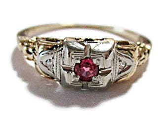 """Vintage 14K Yellow Gold Diamond and Pink Sapphire Engagement Ring 1930s """"Barth""""Wedding  Ring Size 7"""