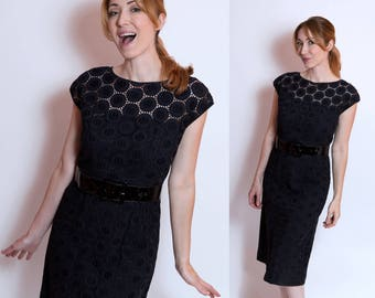 Black 1960's Patterned See-Through Sheath Dress- Size S/M Lace Sheer Goth Rockabilly Pinup Wiggle Dress