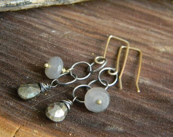 pyrite and grey moonstone dangle earrings - oxidized sterling silver and 14k gold filled wire - mixed metal
