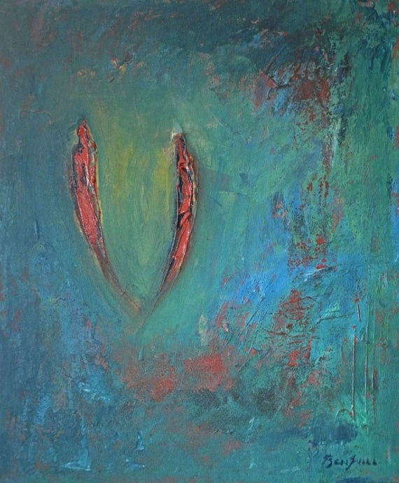 SOULMATES Painting LARGE ORIGINAL Abstract Modern Turquoise and Red Romantic Art on Canvas 24x20 by BenWill