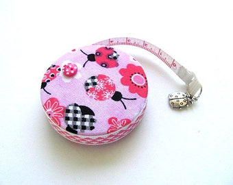 Retractable Tape Measure Pink Ladybugs Measuring Tape
