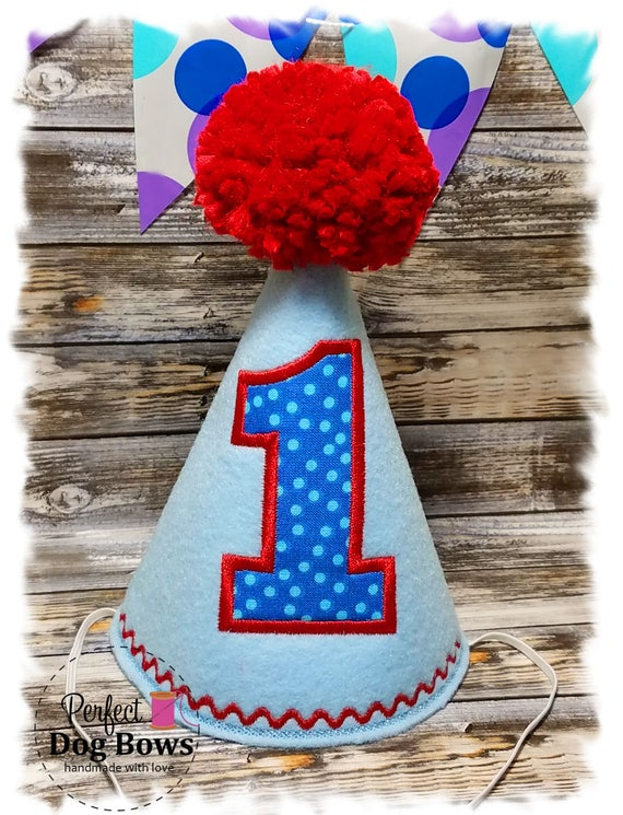 Dog Birthday Hat, Party Hat for Dogs, Boy Dog Birthday, Dogs First Birthday, 1st Birthday Hat, Embroidered Party Hat
