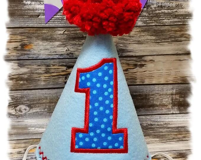 Dog Birthday Hat, Party Hat for Dogs, Boy Dog Birthday, Dogs First Birthday, 1st Birthday Hat, Embroidered Party Hat, Gotcha Day