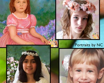 Custom Child Portrait Painting , Kids Portraits in Oil or as Digital Portraits  on Canvas or Art Paper