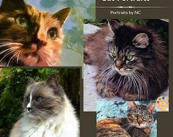 Custom Pet Portraits , Cat Portraits, Pet Oil Portraits on Canvas or as Canvas Prints