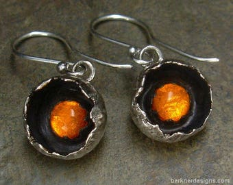 Amber Earrings - Botanical Pod Settings - Amber Jewelry