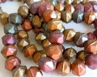 20% Summer SALE English Cut 10mm Czech Glass Pressed Beads Bronze Iris - Full Strand 15 Beads (ECD)
