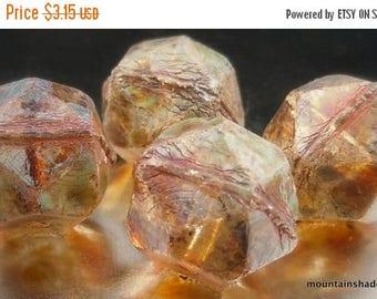 20% Summer SALE 13mm Czech English Cut Crystal Picasso Czech Glass Beads - 4 pcs