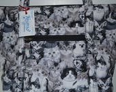 Quilted Fabric Tote Purse With Beautiful Cat Collage in Gray Scale