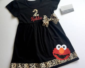 ELMO dress.... cheetah elmo party dress-- personalized ( your childs name) Sesame street inspired