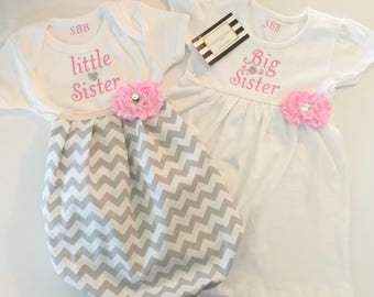 Big Sister Little Sister OUTFITS .. Shabby chic Pink and grey dress and baby gown -sister Set..new baby..baby shower