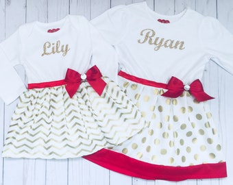 SISTER DRESSES... gold sparkle PERSONALIZED (your children's names ) gold and red accents ... holiday wear- girls clothing