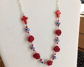 Red white and blue summer style necklace