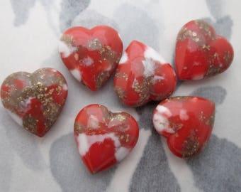 18 pcs. vintage plastic coral orange red matrix heart rounded back rhinestones 15x14mm - f5679
