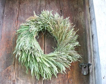 NATURAL GRASS  WREATH    dried flower decoration for door or wall. Larger size