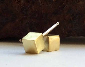 Brass Cube Studs - Geometric Post Earrings in Brass and Sterling Silver