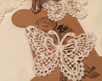 French Lace Butterfly  Applique Set Of Four