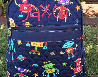Robot Quilted Backpack - Boy Backpack - Boy Quilted Backoack Diaper Bag - Personalized Backpack Monogrammed Backpack - Embroidered Backpack