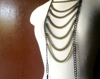 SUMMER SALE Bronze Spine Chain Breastplate Necklace / Edgy Bohemian Burner Jewelry / Festival Accessories / Burner Jewelry / Ladder Necklace