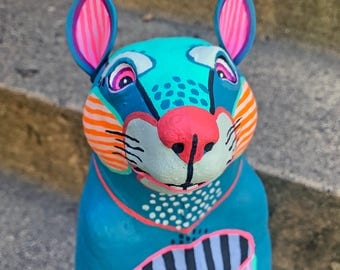 Blue Groundhog - Hand-Painted Tabletop Sculpture Art