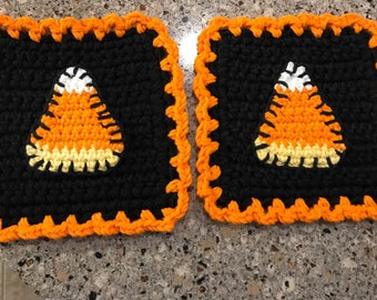 Candy Corn Applique Potholders Crocheted for Halloween