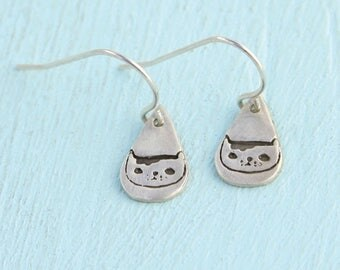 ON SALE SALE Martha the Cat dangle earrings - Gemma Correll sterling silver cat hooks handmade by Chocolate and Steel