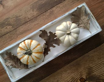 Distressed white centerpiece box  / table display tray