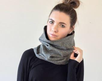 Gray herringbone cowl scarf // cozy wool infinity cowl // washable wool snood