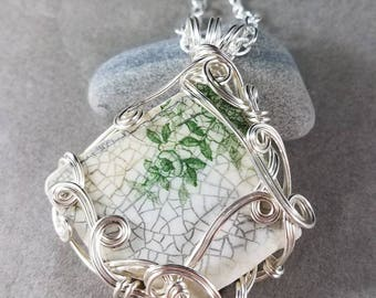 Maine Sea China Green Floral Pendant Silver Wire Wrapped Victorian