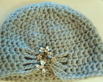 Half Price & Ready to Ship! Powder blue flapper hat with brooch of your choice! Sized for 0-6 months