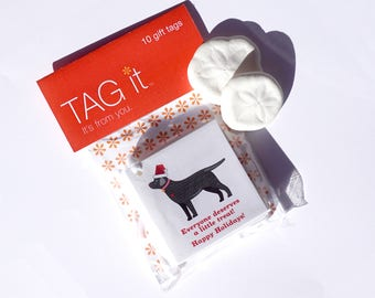 Black Labrador with Santa Hat Gift Tags