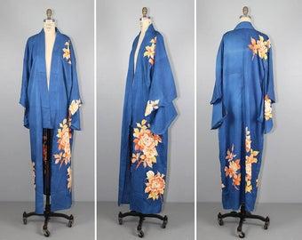silk kimono / 1950s / floral / MARINA / vintage kimono / silk robe