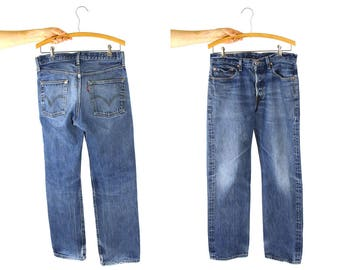"""Levi's 501 Jeans / Vintage Distressed High Waist Button Fly Medium Wash Denim / Worn In Thrashed Frayed Holes Faded / Unisex 31.5"""" x 30"""""""