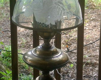 Fenton Brass Electric Vintage Lamp Etched Fenton Lamp Shade Electric Table Lamp Hurricane Lamp