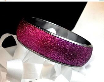 Eclipse Sale Fuchsia Glitter Metal Bangle Vintage Bangle Chunky Pink Bangle Bracelet Wide Glitter Bangle Retro Bangle