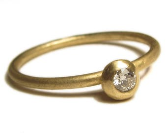 Diamond solitaire Modern engagement ring in 18K 18ct solid yellow gold, gold stacking ring,